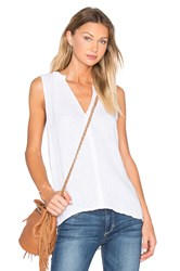 Michael Stars Double Gauze Split Neck Lace Trim Tank White