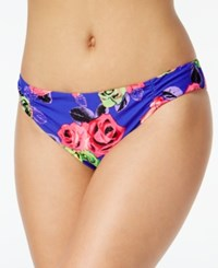 Betsey Johnson Ruched Rose Print Bikini Bottom Women's Swimsuit