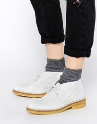 Ymc White Leather Desert Boots