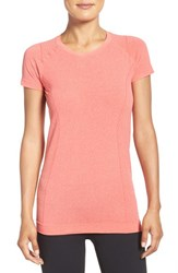Zella Women's 'Level Up' Seamless Tee Coral Poppy Heather