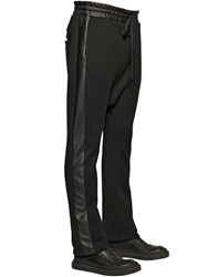 D By D Faux Leather And Cotton Jogging Pants
