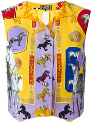 Versace Vintage Horse Printed Gilet Yellow And Orange