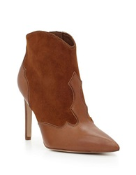 Sam Edelman Bradley Leather And Suede Stiletto Booties Saddle