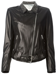 Sylvie Schimmel Studded Collar Biker Jacket Black