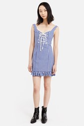 Daisy Gingham Lace Up Dress Blue