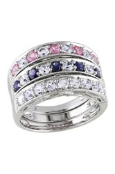 Sterling Silver Created Blue White And Pink Sapphire Ring Set Multi
