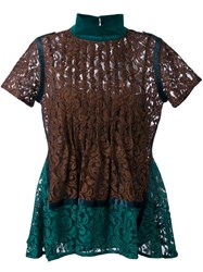Sacai Floral Lace Short Sleeve Top Green
