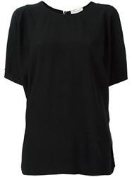 Saint Laurent Open Shoulder Dolman Sleeve Top Black