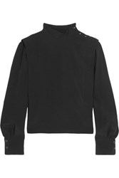 Isabel Marant Belissa Crepe Turtleneck Blouse Black