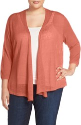 Plus Size Women's Nic Zoe '4 Way' Three Quarter Sleeve Convertible Cardigan Coral Sun