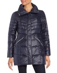 Karl Lagerfeld Packable Mid Length Puffer Down Coat Navy