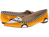 Kate Spade Go Taxi Yellow Patent Black White Patent Women's Flat Shoes
