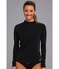 Speedo Zip Front Long Sleeve Rashguard Black Women's Swimwear