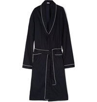 Zimmerli Waffle Knit Cotton Dressing Gown Blue