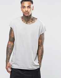 Asos Oversized Sleeveless T Shirt With Twisted Scoop Neck In Grey Dim Grey