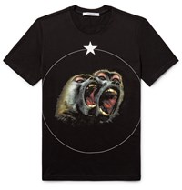 Givenchy Monkey Brother Cuban Fit Printed Cotton Jerey T Hirt Black