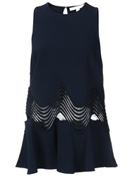 Jonathan Simkhai Flared Cut Off Detailing Blouse Blue