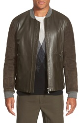Vince Leather And Pieced Suede Bomber Jacket Brushwood Green