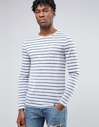 Asos Linen Mix Muscle Long Sleeve T Shirt With Reverse Print Stripe Off White Navy