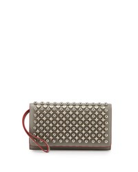 Christian Louboutin Macaron Flap Wallet With Spikes Silver