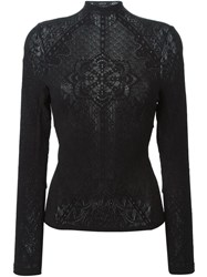 High Lace Knit Turtle Neck Sweater Black