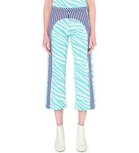 Richard Malone Stripe Print Knitted Trousers Turquoise