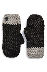 Women's Vince Camuto Chunky Knit Mittens Black Caviar Jersey Heather