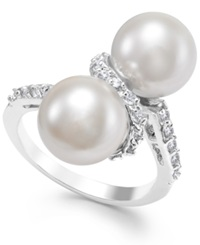 City By City Silver Tone Double Imitation Pearl Crystal Ring