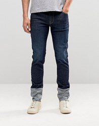 Asos Skinny Jeans With Cut And Sew Turn Up Indigo Blue