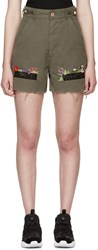 Off White Green Embroidered Cargo Shorts