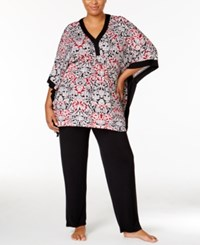 Ellen Tracy Plus Size Caftan Top And Pants Pajama Set Black Ivory