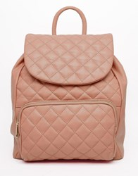 Urbancode Leather Quilted Backpack Blush Pink