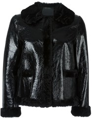 Marc Jacobs Crackle Effect Cropped Jacket Black