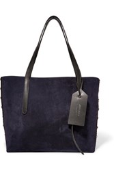 Jimmy Choo Sara Medium Studded Suede And Textured Leather Tote Black