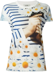 Jean Paul Gaultier Stripe And Daisy Print T Shirt White