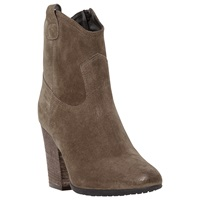 Dune Black Purly Western Style Ankle Boots Taupe Suede