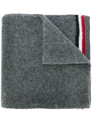 Moncler Striped Trim Scarf Grey