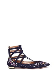 Aquazzura 'Belgravia' Floral Embroidery Caged Suede Flats Blue Multi Colour