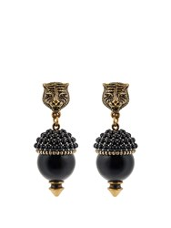 Gucci Pearl Effect Embellished Tiger Earrings Black