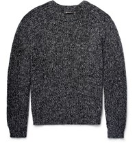 Alexander Wang Ribbed Melange Cotton Blend Sweater Storm Blue