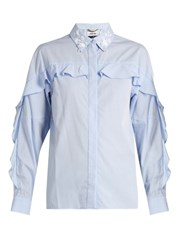 Muveil Ruffle Trimmed Embellished Cotton Shirt Light Blue