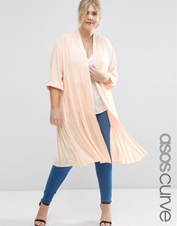 Asos Curve Longline Soft Blazer With Pleated Back Blush