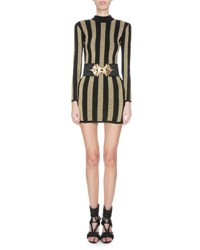 Balmain Mock Neck Long Sleeve Striped Knit Dress Black Gold