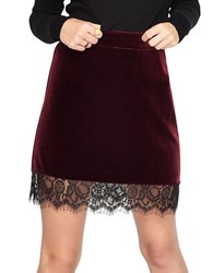 Miss Selfridge Velvet Lace Hem Skirt Red