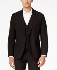 Inc International Concepts Men's Classic Fit Windowpane Check Suit Jacket Only At Macy's Black