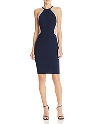 Avery G Beaded Illusion Cocktail Dress Navy Silver