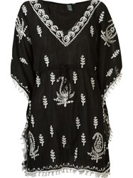 Sub V Neck Embroidered Kaftan Black