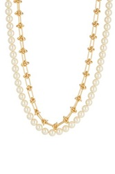 Rebecca Minkoff Long Faux Pearl Strand And Knotted Chain Necklace Metallic
