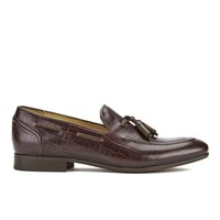 H Shoes By Hudson Men's Pierre Croc Leather Tassle Loafers Brown