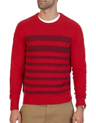Nautica Breton Striped Textured Sweater Nautical Red